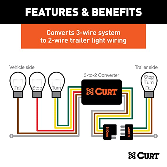 CURT 56146 Powered 3 To 2 Wire Splice In Trailer Tail Light Converter With 4 Pin Wiring Harness