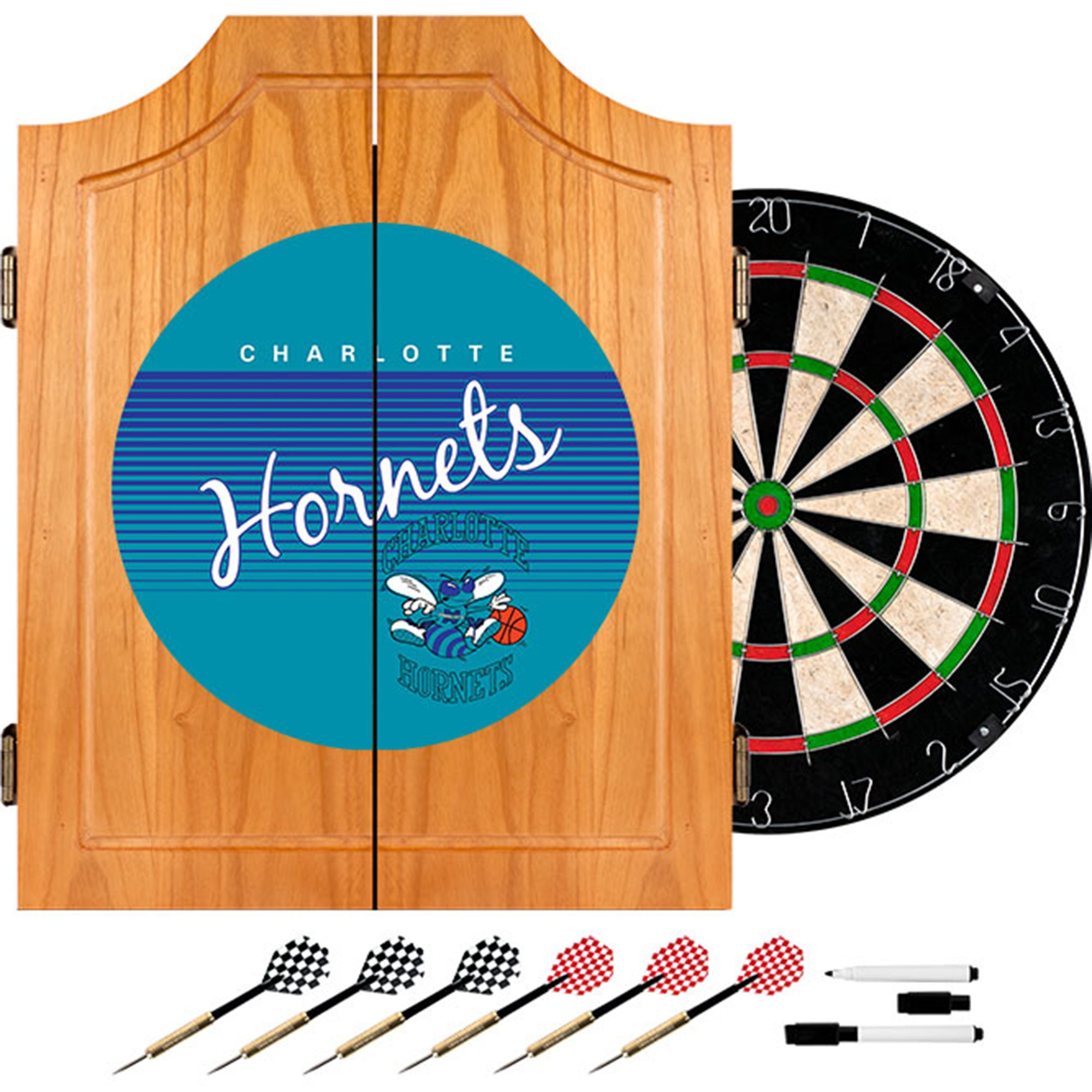 NBA Charlotte Hornets Wood Dart Cabinet, One Size, Brown by Trademark Global