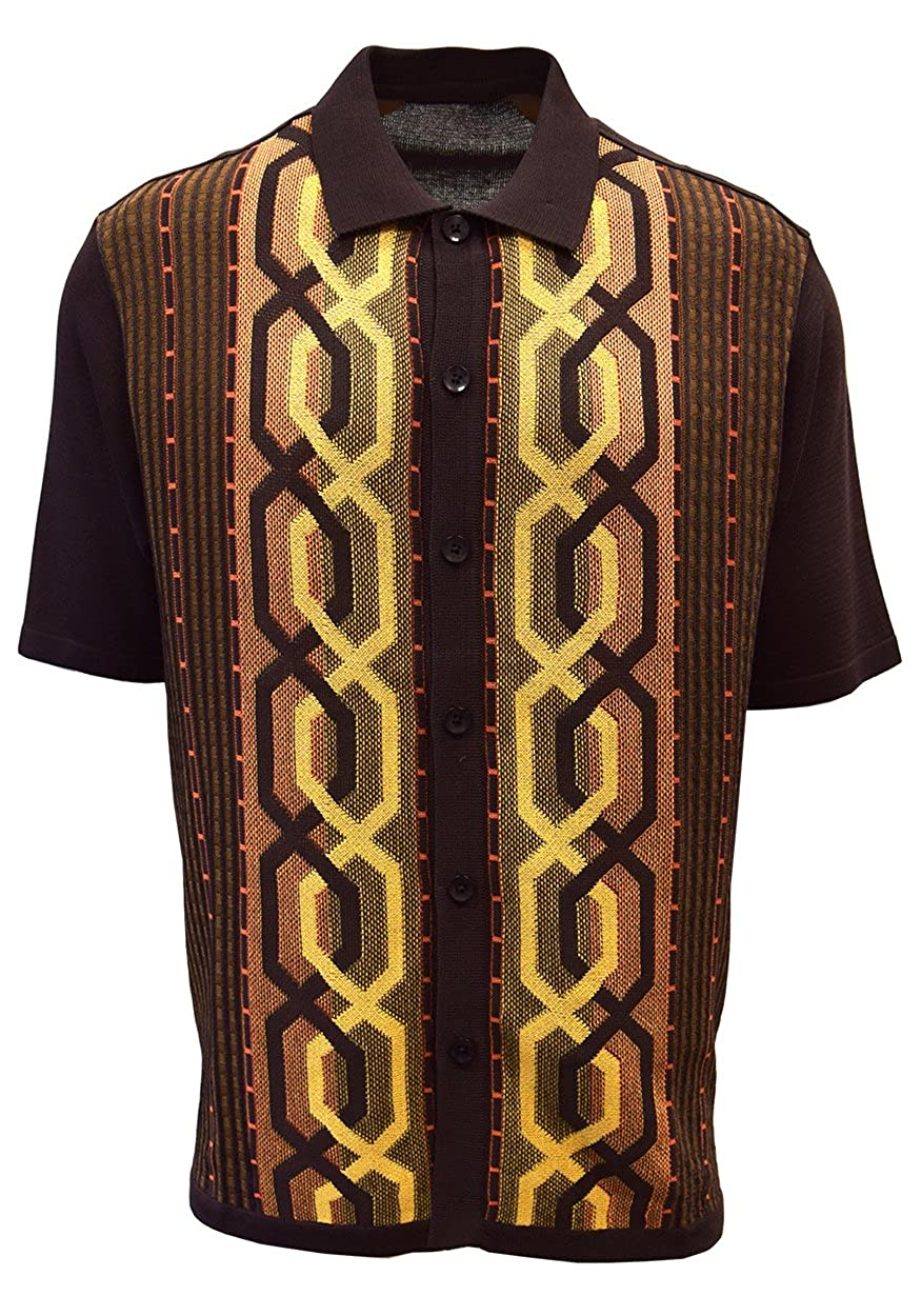 60s -70s  Men's Costumes : Hippie, Disco, Beatles Edition S Mens Short Sleeve Knit Shirt - California Rockabilly Style Chain Links Design $49.00 AT vintagedancer.com