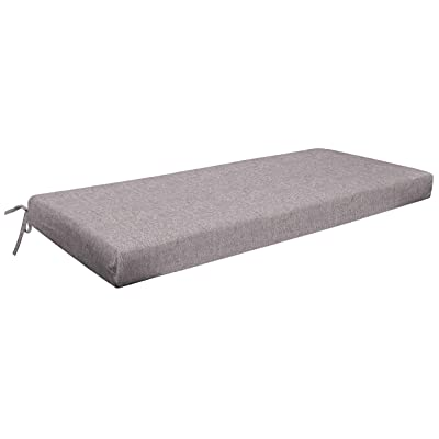 "Honeycomb Indoor/Outdoor Pewter Solid Bench Cushion: Recycled Polyester Fill, Weather and Stain Resistant Patio Cushions: 18.5""L x 44""W x 3""H : Garden & Outdoor"