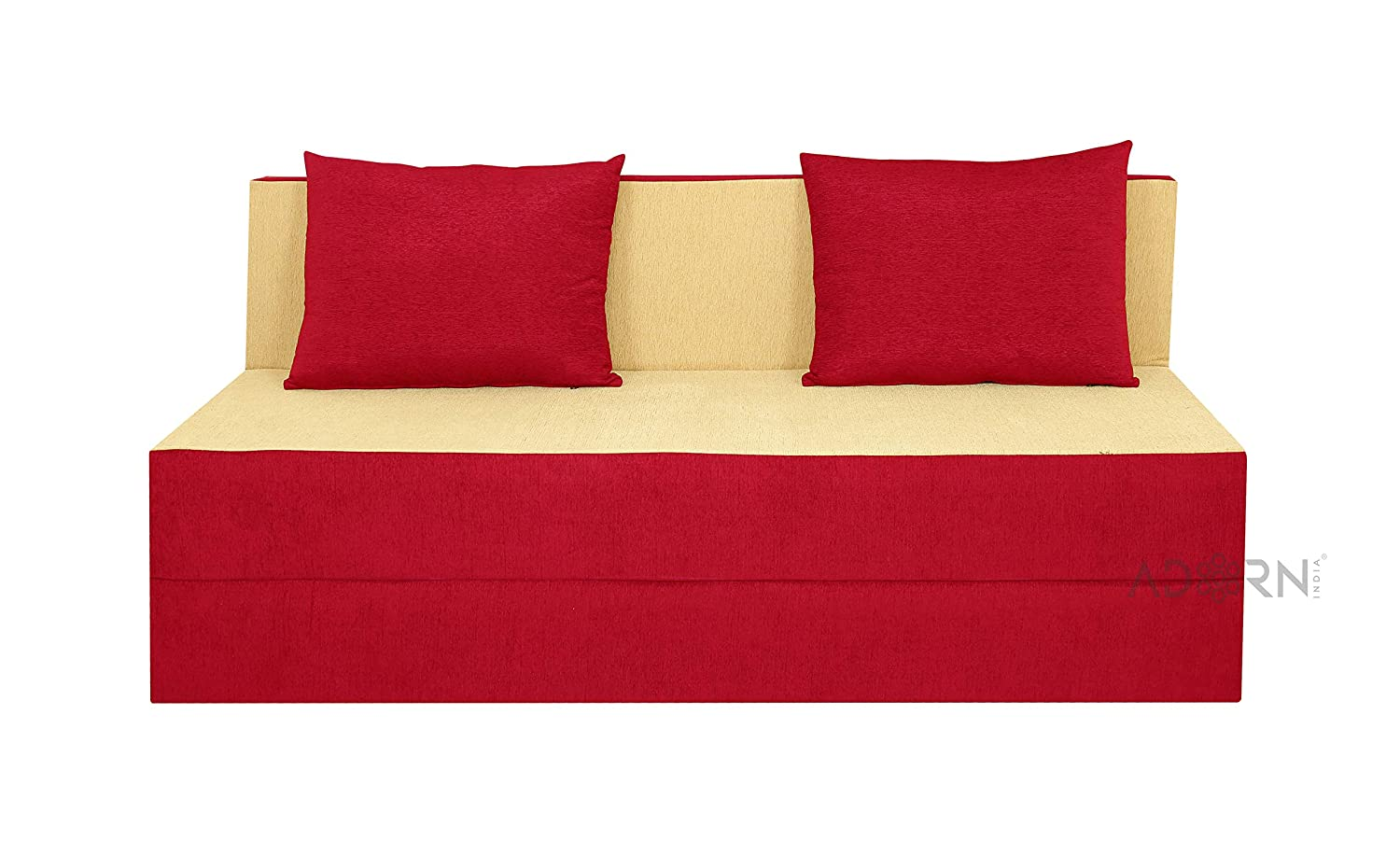 Adorn India Easy Three Seater Sofa Cum Bed (Red and Gold)