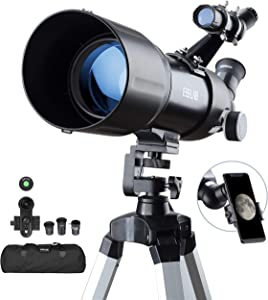 ESSLNB Telescopes for Adults Astronomy Beginners Kids 400X80mm with 10X Smartphone Adapter Adjustable Tripod Case and Moon Filter Erect-Image Diagonal Prism