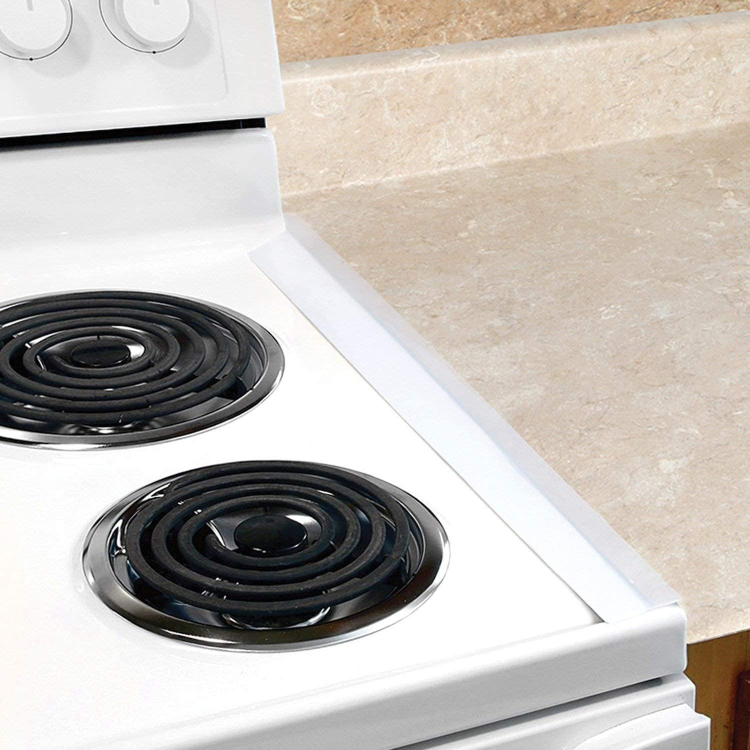 Trenton Gifts Clear Silicone Spill Guard | No More Crumbs or Spill Between Stove & Counter Top | Black