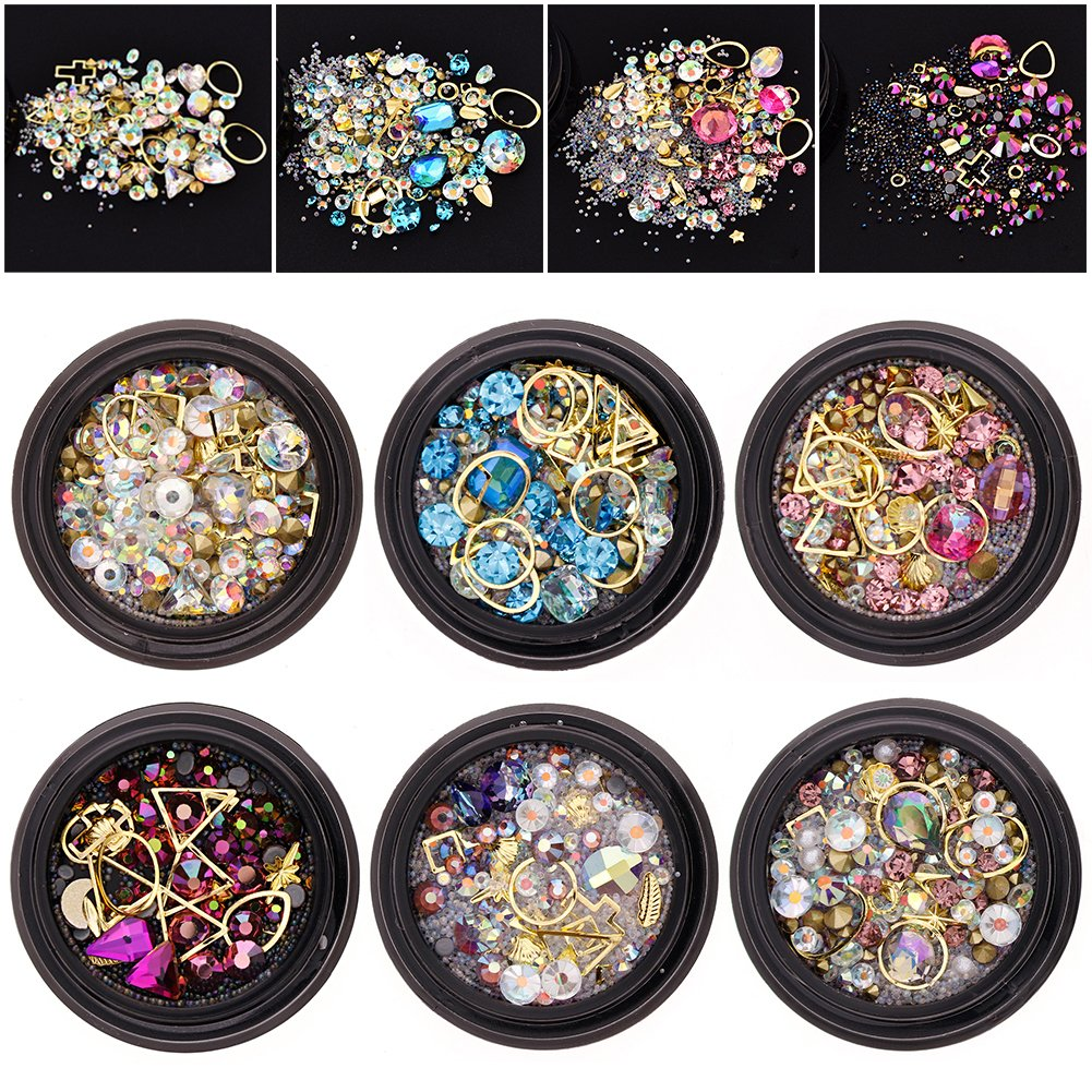 6 Wheels Mixed Nail Art Rhinestones Diamonds Crystals Beads Gems for DIY Decor Decorations Accessories (02#)