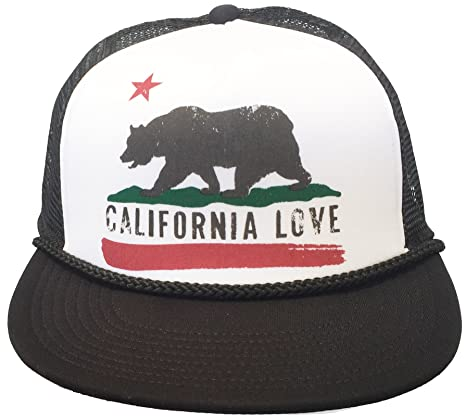 Amazon.com  Brooklyn Hat Co California Love Trucker Cap Snap Back Grizzly  Bear (Black Flat Brim)  Clothing a176882b55e2