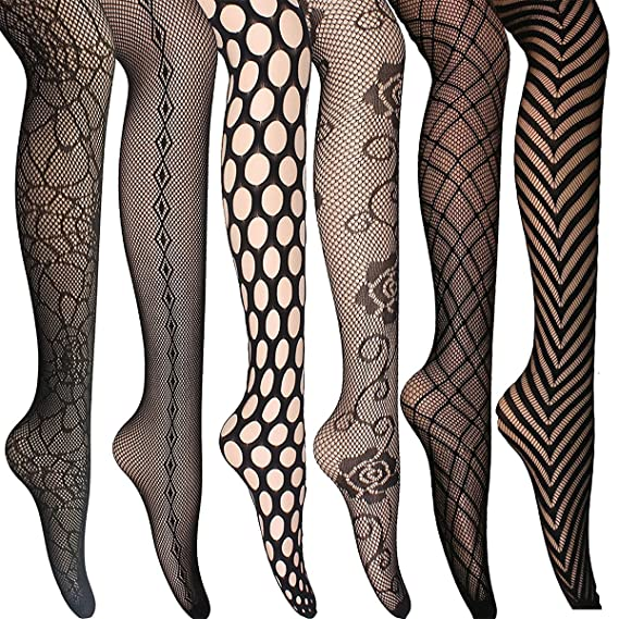 0a7e9a3f75aae 6 Pairs women Sexy Pantyhose Seamless Floral Fishnet Tights under jeans  Nylon Stockings black: Amazon.co.uk: Clothing