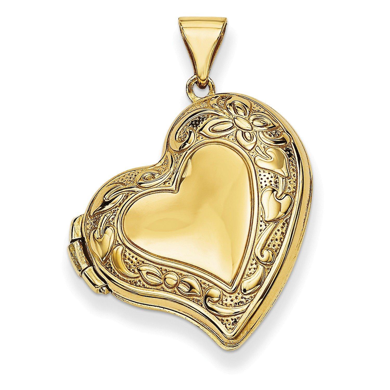 Roy Rose Jewelry 14K Yellow Gold Fancy Heart Locket 20x20mm by Roy Rose Jewelry