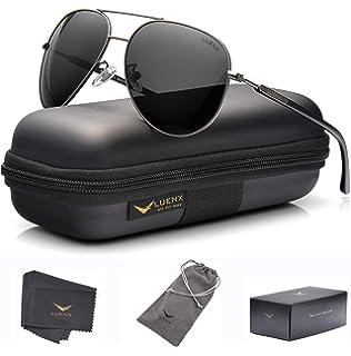da4c7faba0 Men Women Sunglasses Aviator Polarized Driving by LUENX - UV 400 Protection  Grey Lens Gun Metal