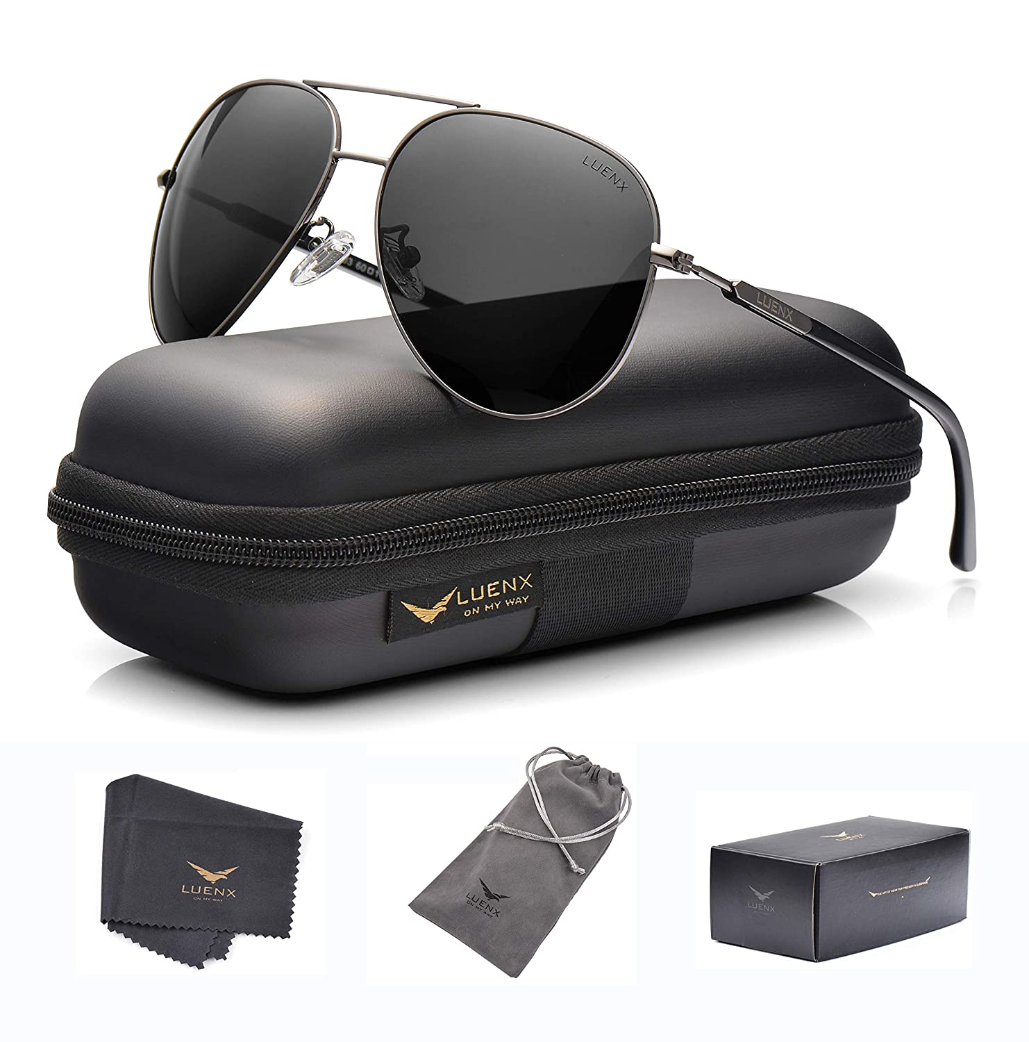 d4a18df07 LUENX Aviator Sunglasses Womens Mens Polarized Mirror with Case - UV 400  Protection Grey Size: Large: Amazon.co.uk: Clothing