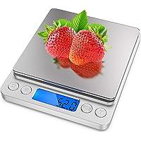 ميزان الطعام من ارابست - نطاق وزن من 0.1 غرام حتى 2 كغم، ميزان الغذاء الرقمي مع مؤشر الوزن الزائد، شاشة ال سي دي ذات…