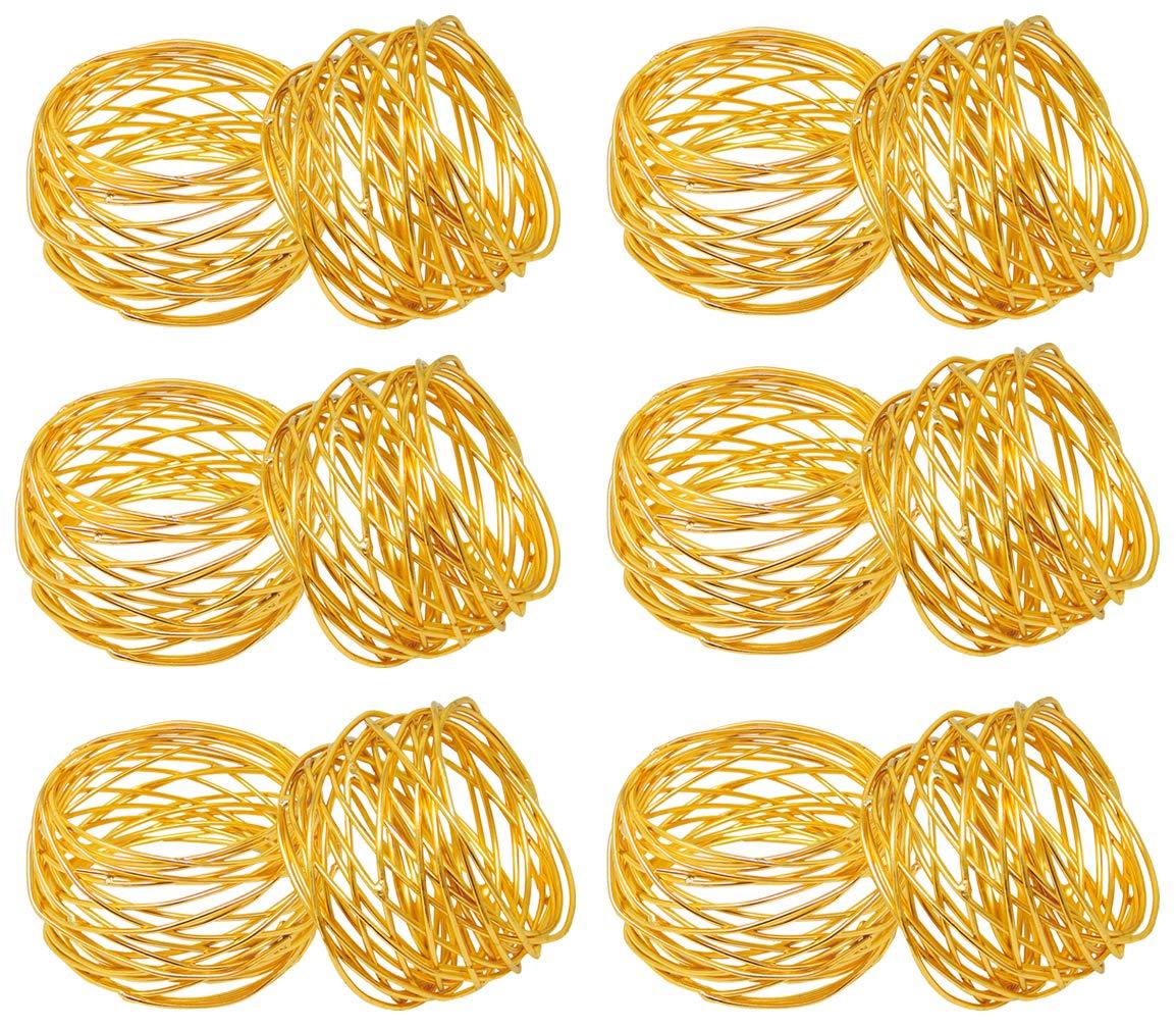 SKAVIJ Metal Mesh Napkin Rings Set for Dining Table Decoration (Dia-2 Inch, Pack of 12, Gold)