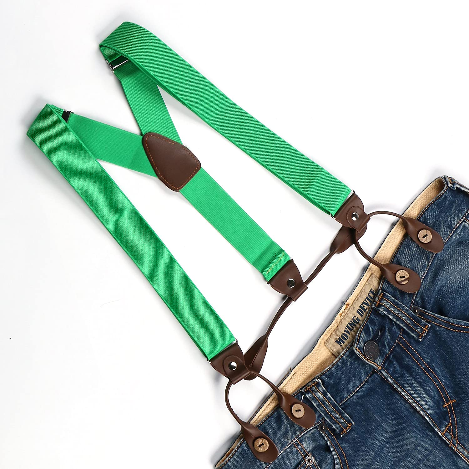 Enwis Mens Suspenders Braces Polyester Elastic Button Holes Solid Green