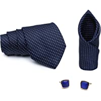 MENSOME tie set with Cufflinks and Pocket square in tie for mens(Blue tie)