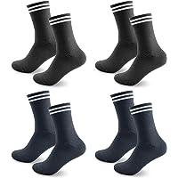 Smart Sir Calcetines Hombre y Mujer 4 Pares de Calcetines de deporte Negro Largo Calcetines de tenis Blanco