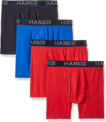 Hanes Ultimate Mens Comfort Flex Fit Ultra Soft Cotton Modal Blend Boxer Brief 4-Pack