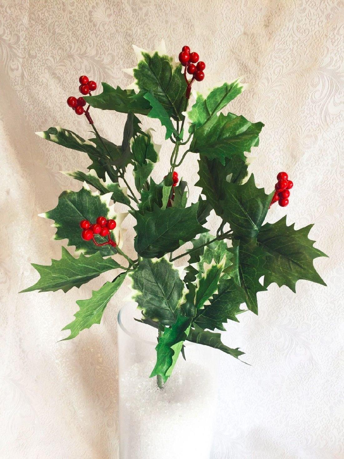 Christmas Greenery Centerpieces.1pcs Holly Berry Bush Christmas Filler Greenery Silk Wedding Flowers Centerpieces