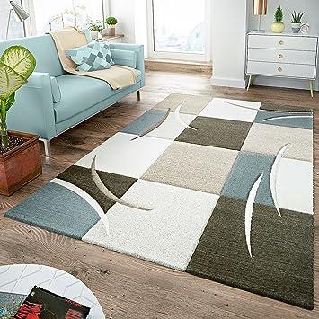 Amazon.de: Moderner Teppich Wohnzimmer Kariert Trendig Pastell ...