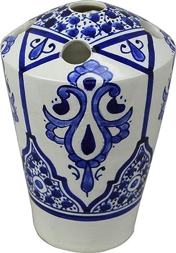 Fes/asila 5 agujeros multicolor de cerámica pintado a mano – Soporte para cepillo de