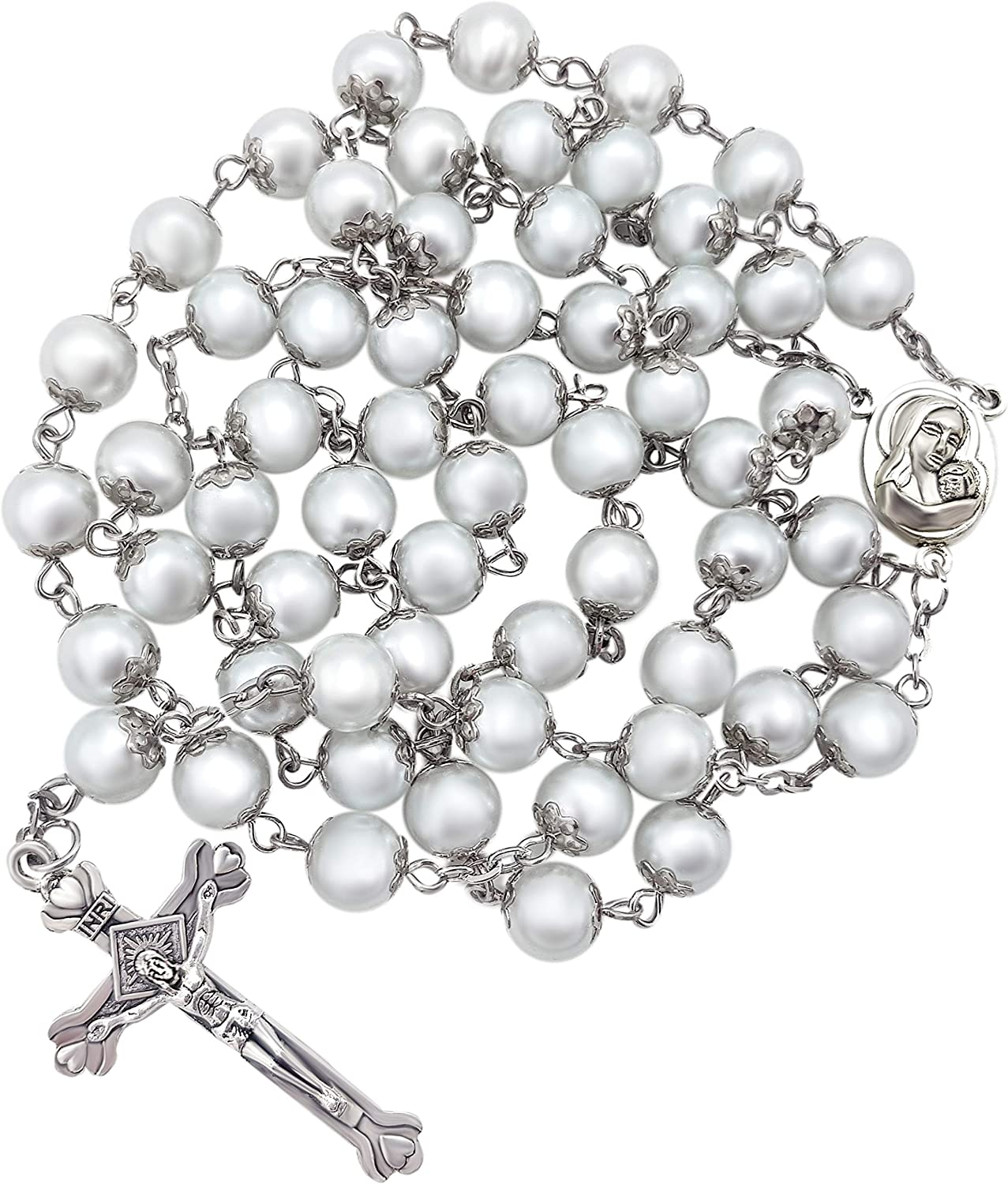 Nazareth Store White Pearl Rosary Beads Catholic Necklace Holy Soil Medal Cross Christian Holy Land Religious Gifts Rosaries for Women and Men