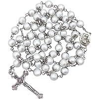 Nazareth Store Freshwater Pearl Rosary Necklace Antique Catholic Religious Rosary Set Beads Cross