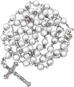 Nazareth Store Freshwater Pearl Rosary Necklace Antique Catholic Religious Rosary Set Beads Cross