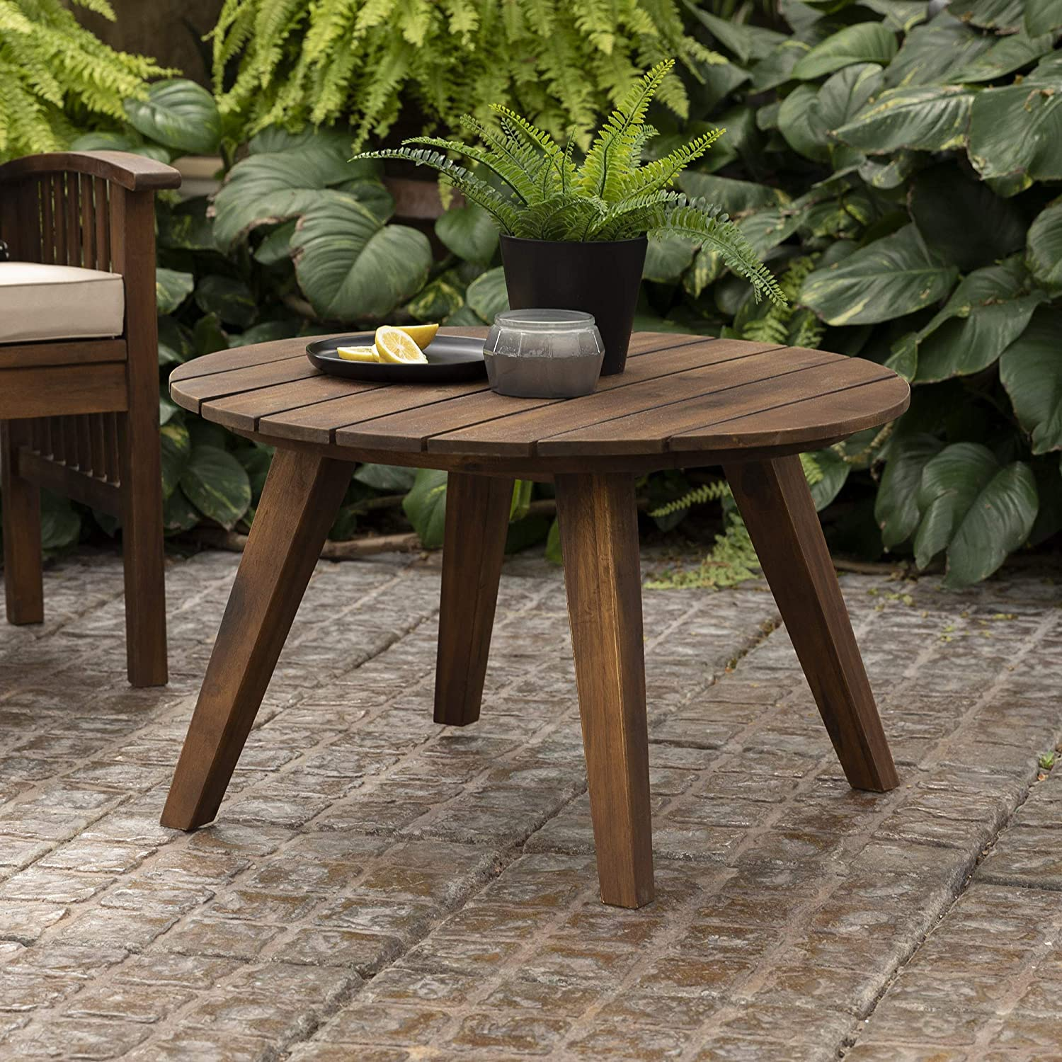 Walker Edison Outdoor Patio Wood Round Coffee Table All Weather Backyard Conversation Garden Poolside Balcony, 30 Inch, Dark Brown