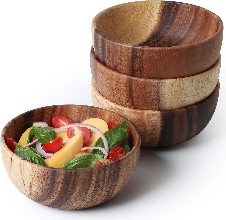 Acacia Wooden Salad Bowl 6.3inches Set of 4 - Individual Salad Bowls for Salad, Fruits and Cereal by AVAMI