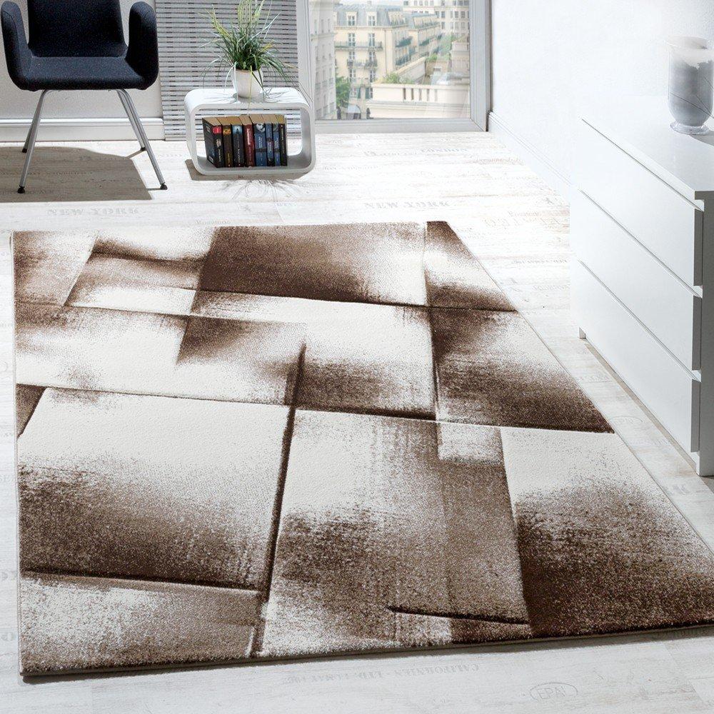 paco home designer teppich modern wohnzimmer teppiche kurzflor meliert braun creme beige grsse120x170 cm amazonde kche haushalt - Wohnzimmer Braun Creme