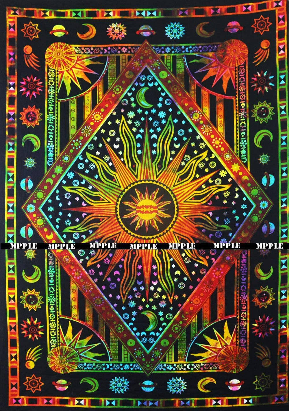 Tie Dye Psychedelic Celestial Sun Moon tapestry Bohemian Tapestry Wall Hanging Dorm Decor Boho Tapestry /Hippie Hippy Tapestry Beach Coverlet Curtain (Twin (54 X 84 inches approx, Orange Multi Color)
