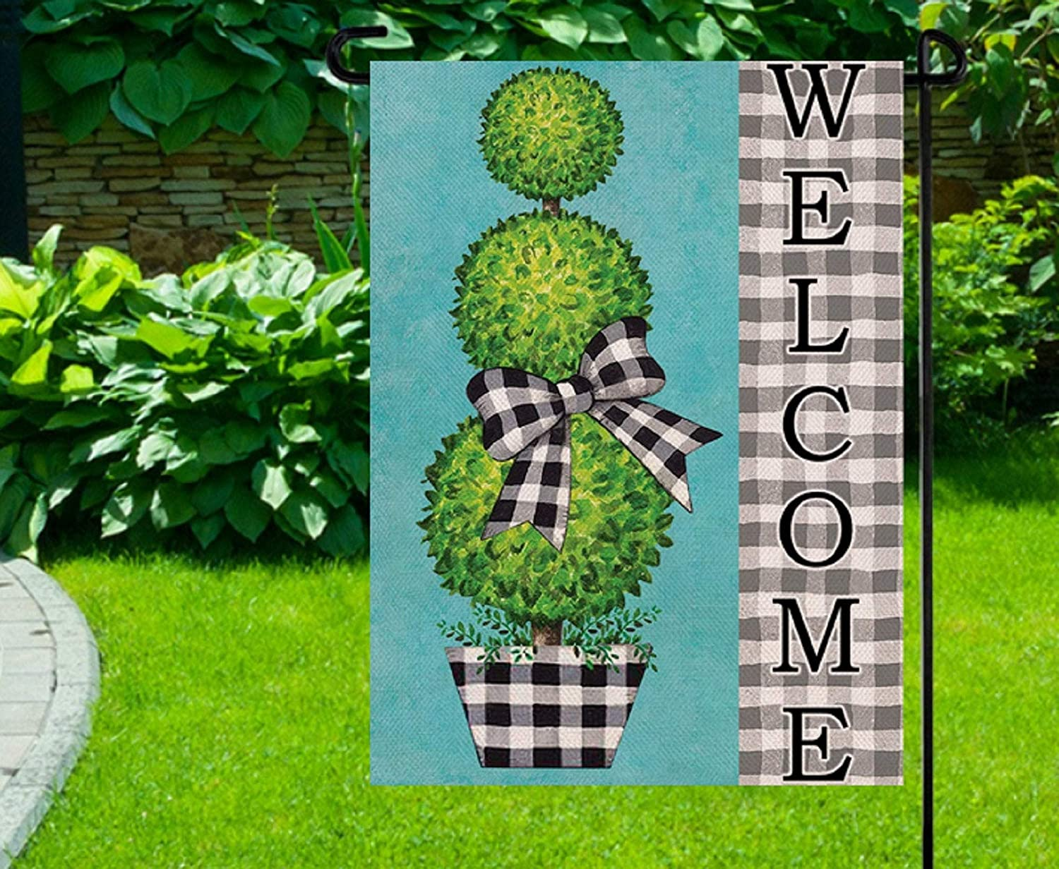 Lplpol Garden Flag Welcome Garden Flag, Topiary Flag, Black Plaid Yard Flag, Summer Welcome Flags, Year Round Garden Flags, Curb Appeal 12x18 inches