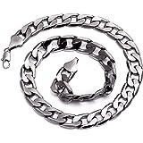 Collier homme - métal gris acier - Chaîne gourmette , Hip Hop Bling, 13mm