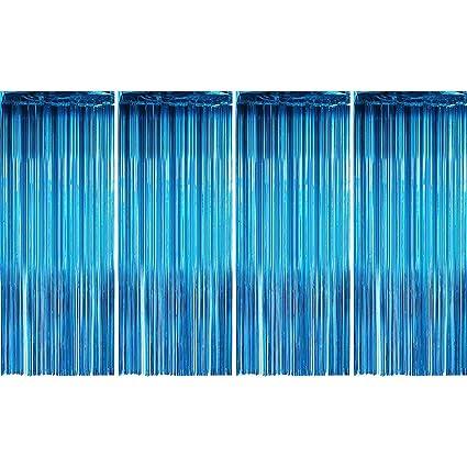 Cortinas con flecos de papel de aluminio, color turquesa ...