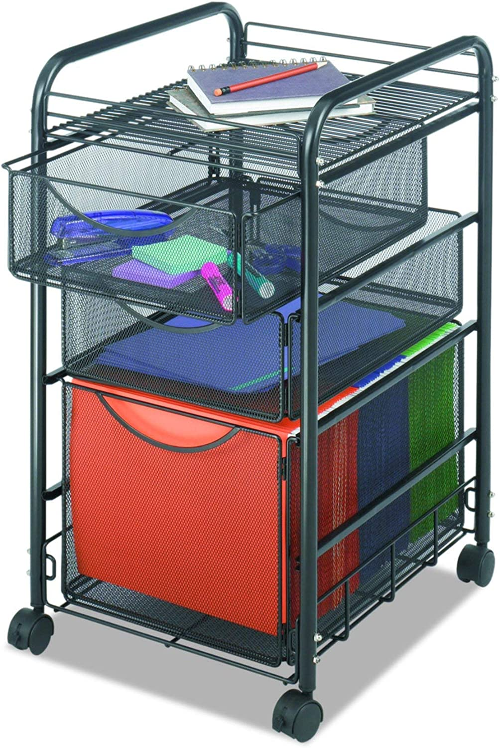 Safco Products Onyx Mesh 1 File Drawer and 2 Small Drawers Rolling File Cart 5213BL, Black Powder Coat Finish, Durable Steel Mesh Construction, Swivel Wheels For Mobility : Vertical File Cabinets : Office Products