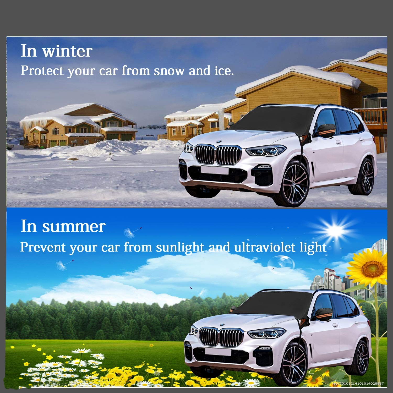 YIHUNION Car Windshield Snow Cover Windscreen Winter Cover with Side Mirror Covers and Magnetic Edges for Most Vehicles Waterproof Windshield Covers for Ice Snow Frost Full Protection Cars and SUV