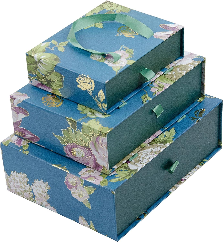 Emartbuy Conjunto De 3 Caja De Regalo Rígida De Presentación De Lujo, Azul Oscuro Floral Impresión, Interior A cuadros Rojo Y Asa Verde: Amazon.es: Oficina y papelería