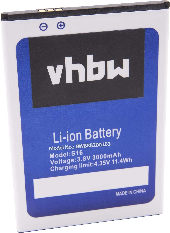 vhbw Li-Ion batería 3000mAh (3.8V) para móvil Smartphone teléfono HomTom S16: Amazon.es: Electrónica