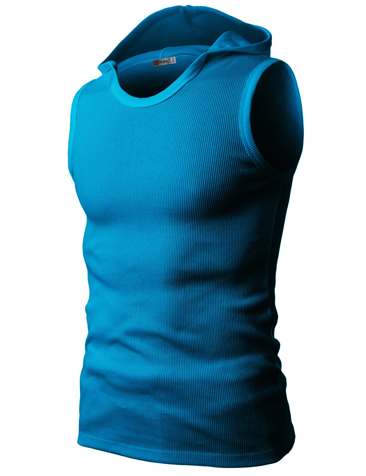 H2H Mens Fashionable Slim Fit Cotton Hooded Tank-Tops SkyBlue US S/Asia M (JPSK05)