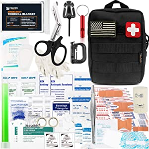 Falcon Medi-Tac 200 Pieces First Aid Kit IFAK Survival Kit Molle Compatible Pouch, Emergency Kit Gift for Men, Dad, Husband, for Outdoor, Camping, Hunting, Hiking, Home, Earthquake