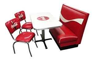 "Vitro Seating Products CB-I Dinette Furniture Set with Coke Dynamic Booth, 24"" x 42"" Table and 2 Bullseye Chrome Diner Chairs, Red and White (Pack of 4)"