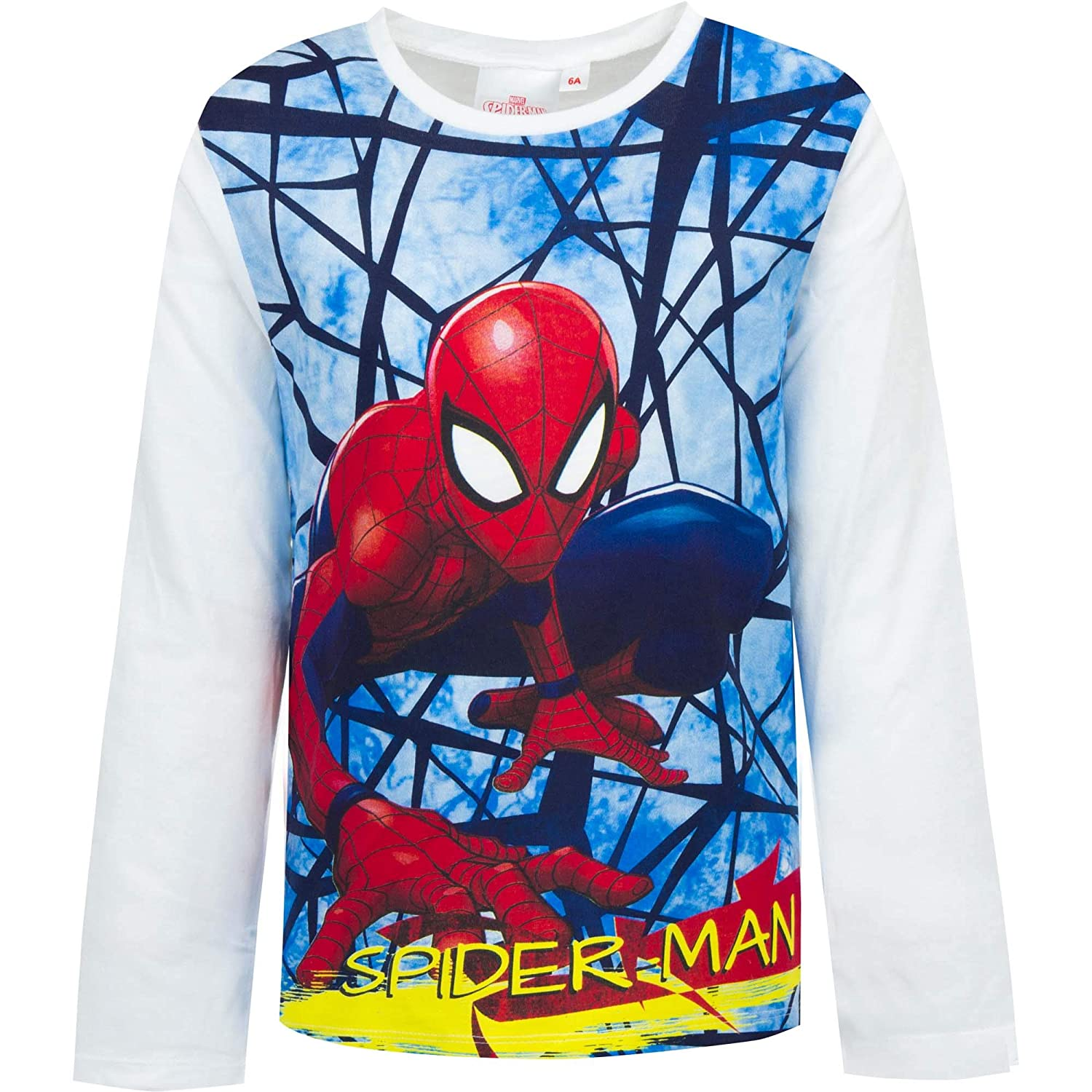 MARVEL, SPIDER-MAN New Boys Spiderman Long Sleeve TOP T-Shirt White, Size 4-8 Years