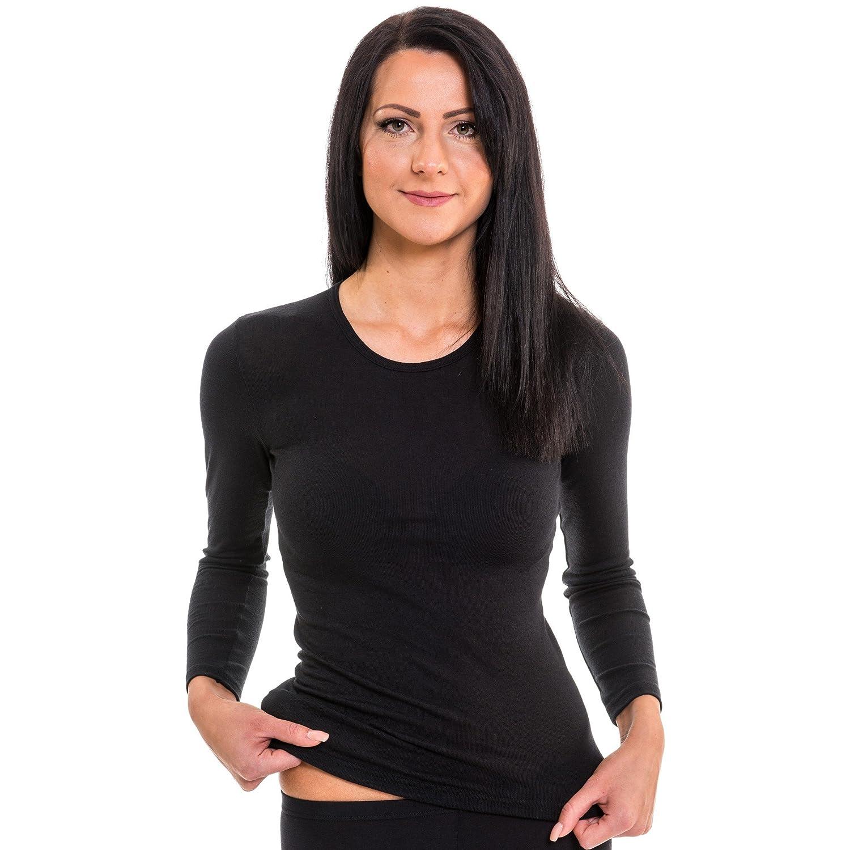 HERMKO 2/X 61830/Maglietta da Donna a Maniche Lunghe Intima a per Sport e Tempo Libero