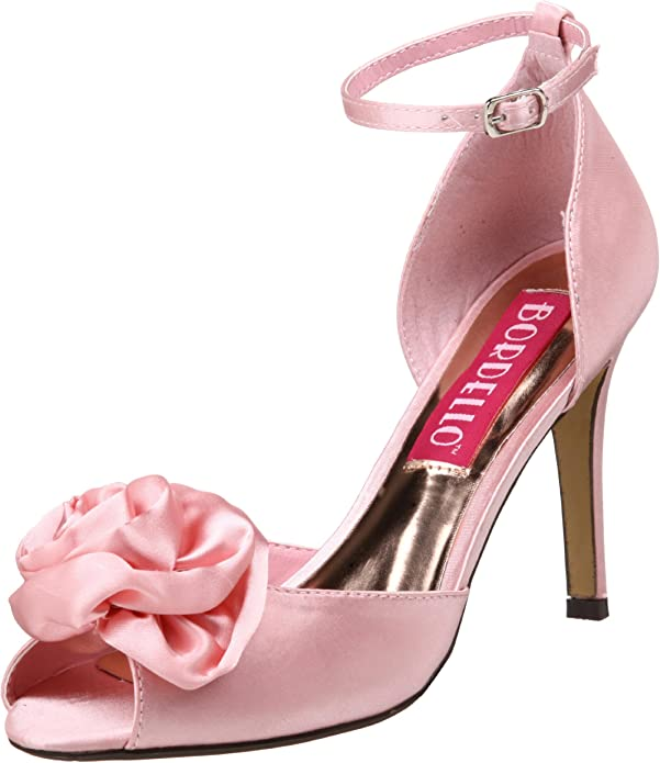 Bordello ROSA-02 Women/'s Shoes Red Satin Ankle Strap Open Toe High Heels