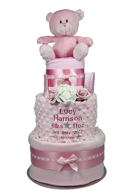 Lovely personalizada para bebé niña - tarta de pañales de ...