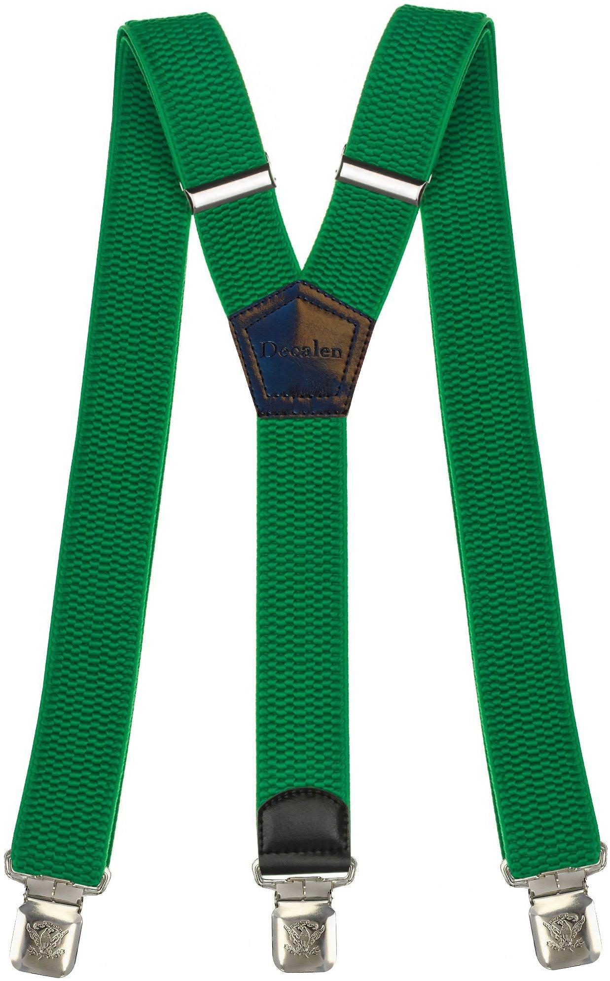 Msendro Men's Suspenders Y Shape Adjustable Elastic Heavy Duty Clip on Braces X-Large Green