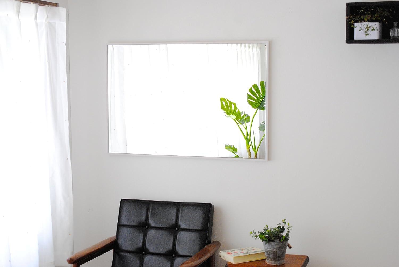 SENNOKI 細枠 全身 鏡 姿見 壁掛け ウォールミラー 長方形 ウッディーホワイト 日本製 62cm×92cm B071VTG7XZ ウッディーホワイト ウッディーホワイト