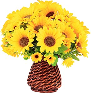 Artificial Sunflower Flower with Bamboo Woven vase, Suitable for Home Decoration Such as Living Room, Study Room, Office, Wedding, Hotel Banquet (5 Bunches)