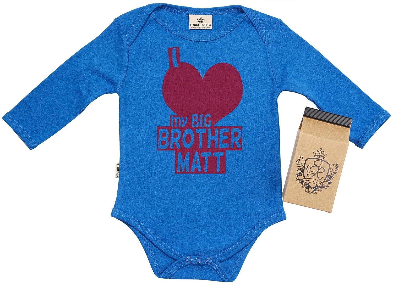 Amazon.com: SR - PERSONALISED I Love My Big Bro Babygrow Newborn Black in Milk Carton: Baby