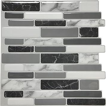 """Brick Marble Design Pack of 1 Peel and Stick Backsplash Tile 12/""""x12/"""""""