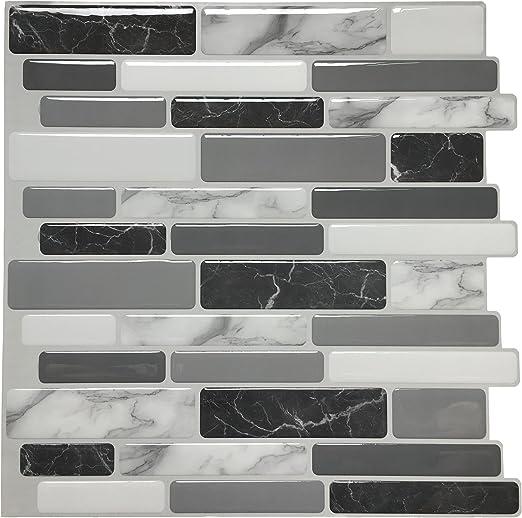 Art3d 12 X12 Peel And Stick Backsplash Tile For Kitchen Marble Grey 6 Pack