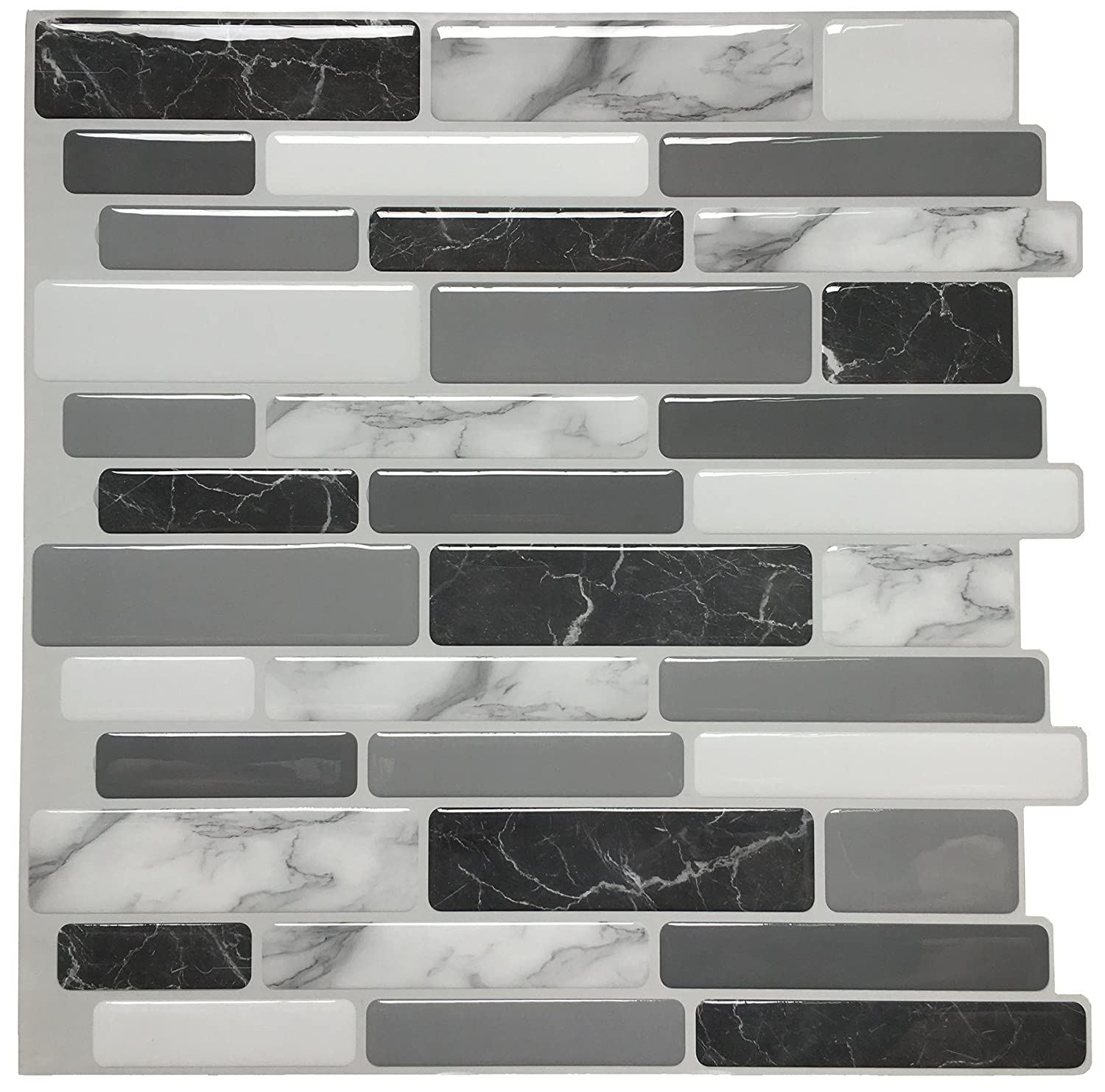 "Art3d 12""x12"" Peel and Stick Backsplash Tile for Kitchen, Marble Grey (6 Pack)"